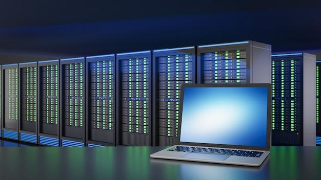 Laptop computer place in hosting server room. 3d rendering illustration image.
