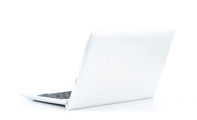 A laptop computer on a white surface