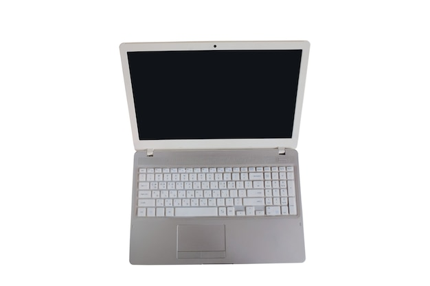 Laptop computer with blank black screen on white background
