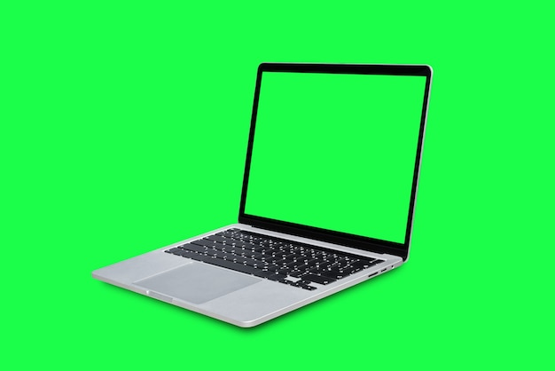 Laptop computer with blank green screen isolated on green background.