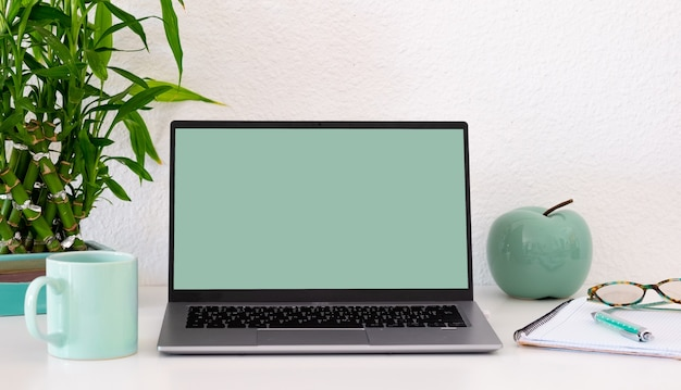 Laptop computer with blank green screen on white background. copy space. business, study, remote working, nobody