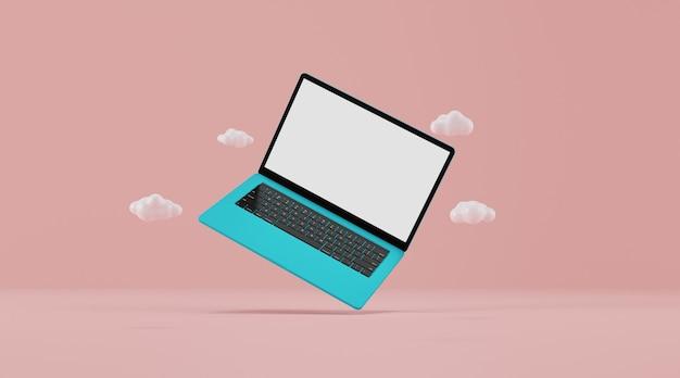 空白の画面を持つラップトップコンピューター。