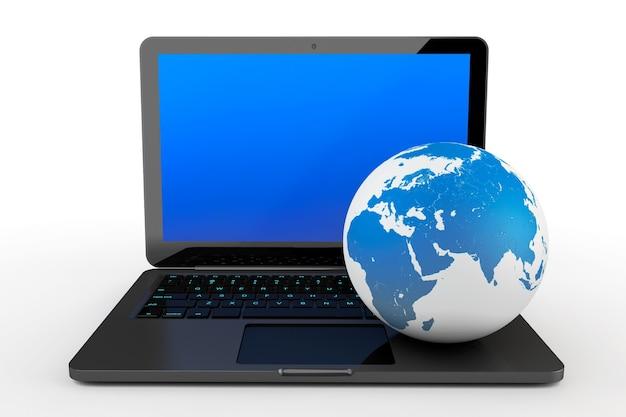 Портативный компьютер с земным шаром на белом фоне