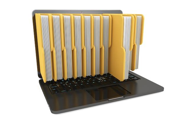 Портативный компьютер с папками на белом фоне