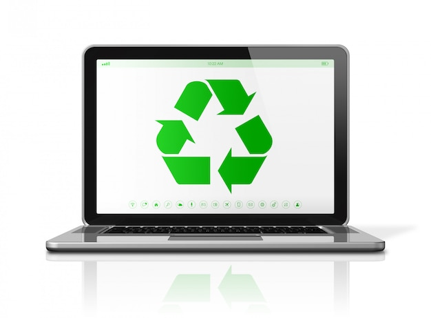 Laptop computer with a recycling symbol on screen. environmental conservation concept