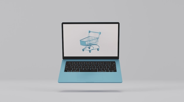 Laptop computer with shopping cart. online shopping concept.