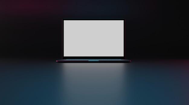Портативный компьютер с белым экраном. 3d-рендеринг.