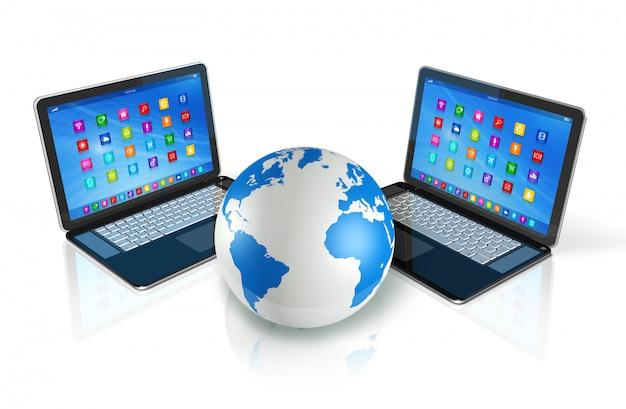 Laptop computers around world globe