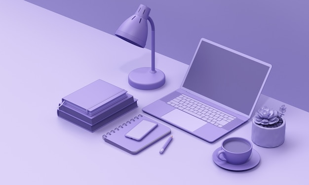 Laptop on desk  render mono colour background
