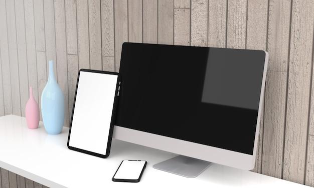 노트북, 데스크톱 컴퓨터, 모바일 및 태블릿 3d 렌더링 모형 .3d 그림