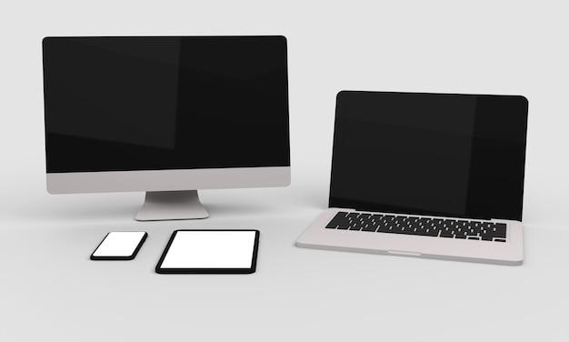 Ноутбук, настольный компьютер, мобильный телефон и планшет
