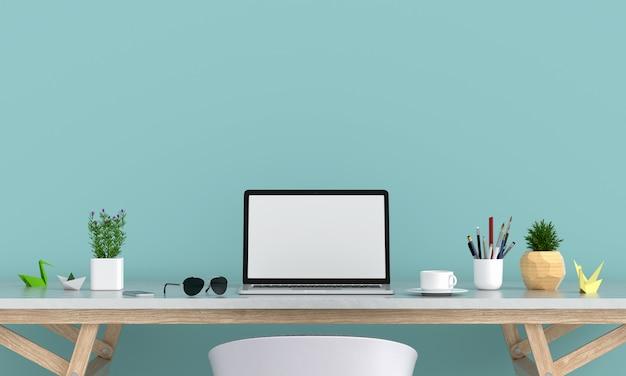 テーブルの上のモックアップのためのラップトップディスプレイ