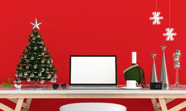Laptop display for mockup, christmas concept Premium Photo