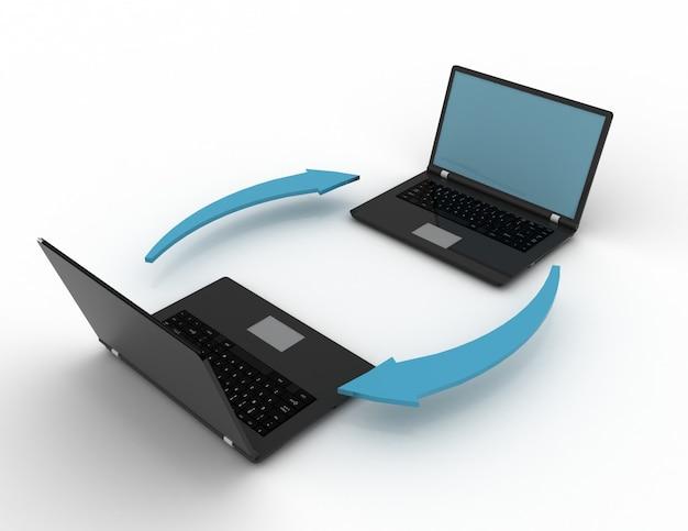 Обмен ноутбука на белом фоне