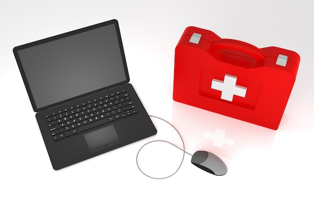 Ноутбук первая помощь. изолированные на белом фоне.
