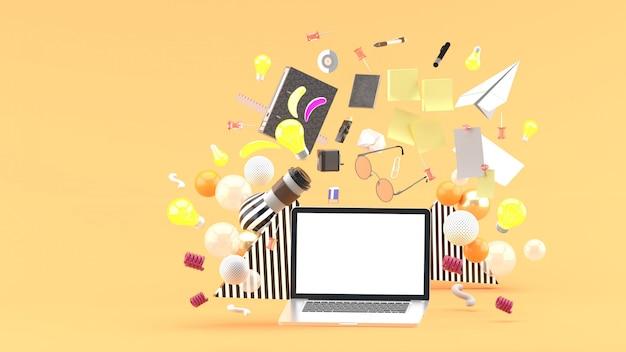 Ноутбук, плавающий среди кофе, очки, канцтовары и лампочки на оранжевый. 3d визуализация
