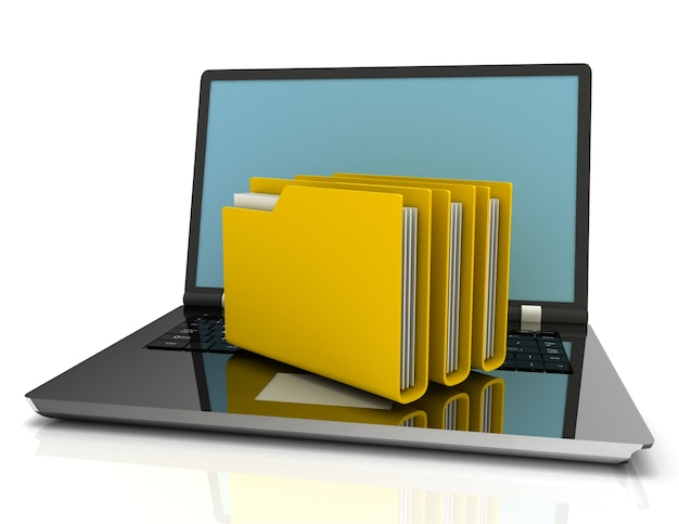 Laptop and folders. search of data. 3d illustration