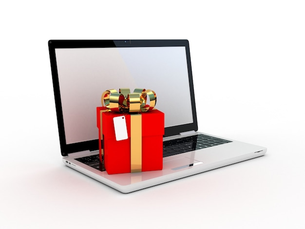 Laptop and gifts on white