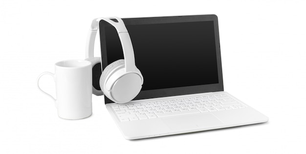 Laptop and headphone isolated on white