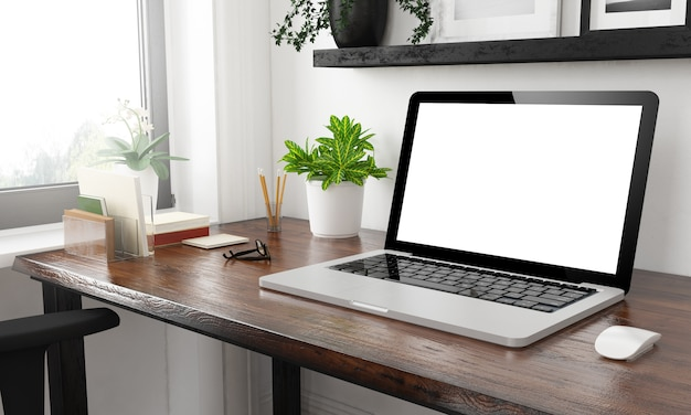 Laptop at home office mockup