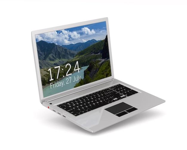 Ноутбук. изолированный 3d-рендеринг
