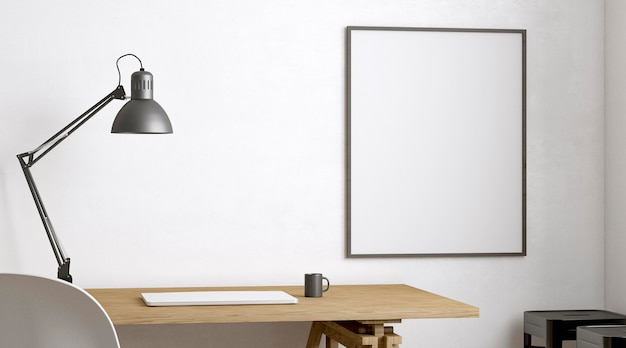 Laptop and lamp on wooden table