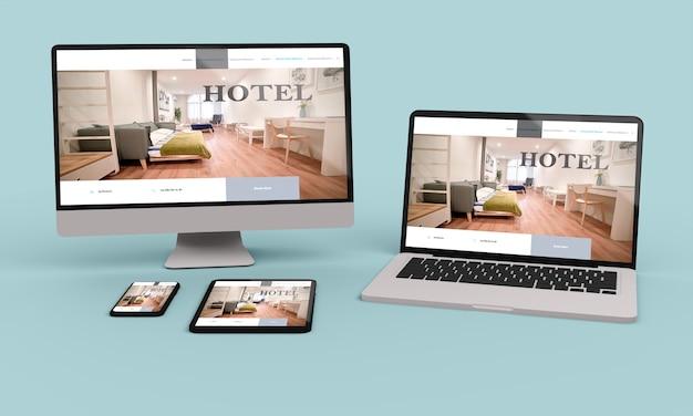 ホテルのレスポンシブウェブデザインを示すラップトップ、モバイル、タブレットの3dレンダリング。3dイラスト
