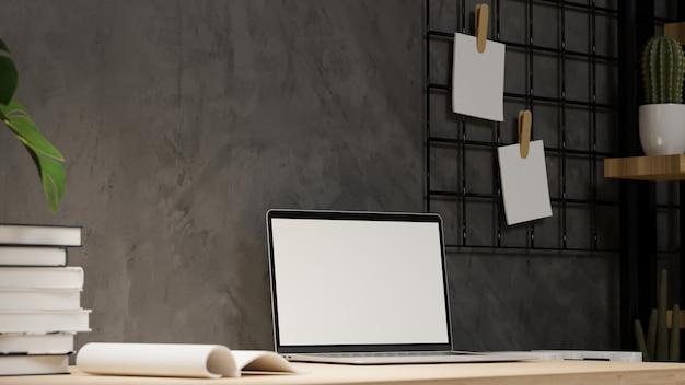 Макет ноутбука в современном интерьере домашнего офиса лофт пустой экран ноутбука крупным планом 3d-рендеринг