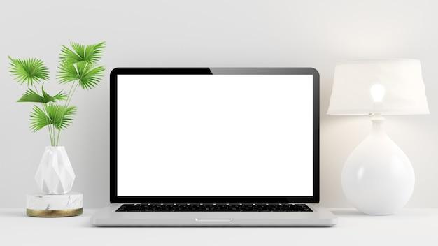 Laptop mockup on minimal desktop 3d rendering