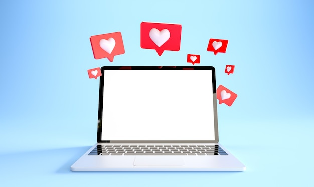 Laptop mockup with many like notifications at blue background social media concept d rendering