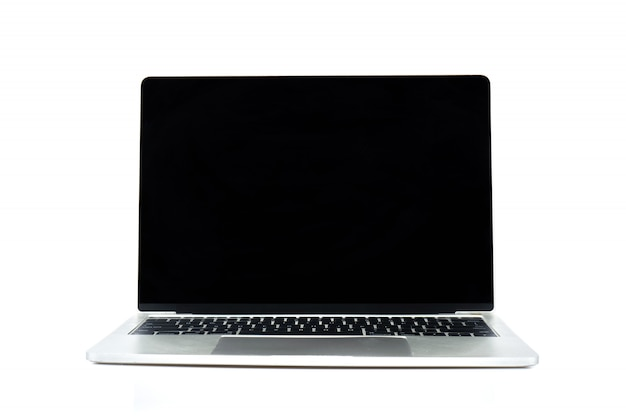 Laptop or notebook isolated on white wall