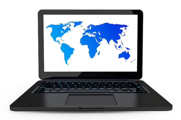 Ноутбук на белом фоне с высокой подробной картой мира на экране