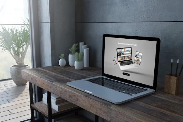 レスポンシブウェブサイト画面の3dレンダリングを備えた木製デスクトップ上のラップトップ