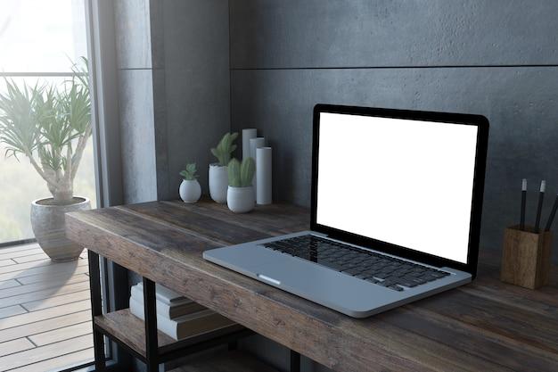白い画面の3dレンダリングと木製デスクトップ上のラップトップ