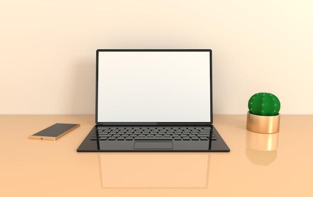Ноутбук на фоне макета рабочего стола