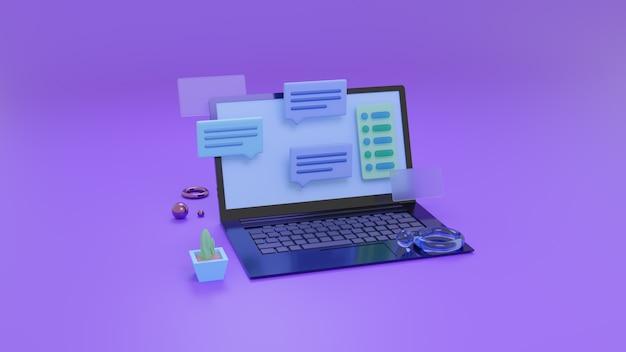 ラップトップまたはモバイルアプリケーションの通信の概念。オンラインメッセージング