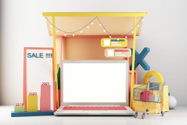 Ноутбук представляет собой перед магазином. покупки онлайн на экране концепция приложения цифровой маркетинг с тележкой на пастельных тонах с панелью связи и панелью статистики 3d-рендеринга