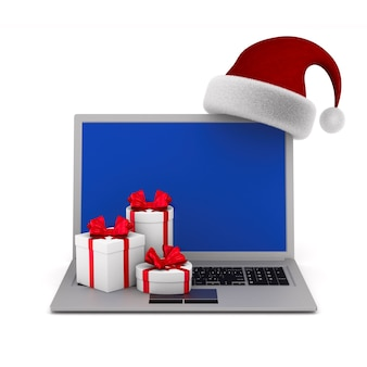 Laptop and santa claus hat on white background. isolated 3d illustration