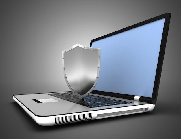 노트북 보안 개념입니다. 3d 그림