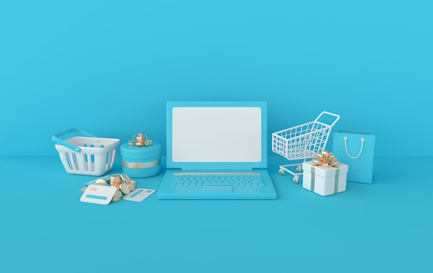 Laptop shopping cart and bag present box stack of coins credit cards rendering