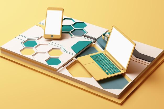 노트북, 스마트 폰 및 헤드폰 노란색과 녹색 색상의 기하학적 도형 플랫폼의 기술 개념 추상적 인 구성. 3d 렌더링