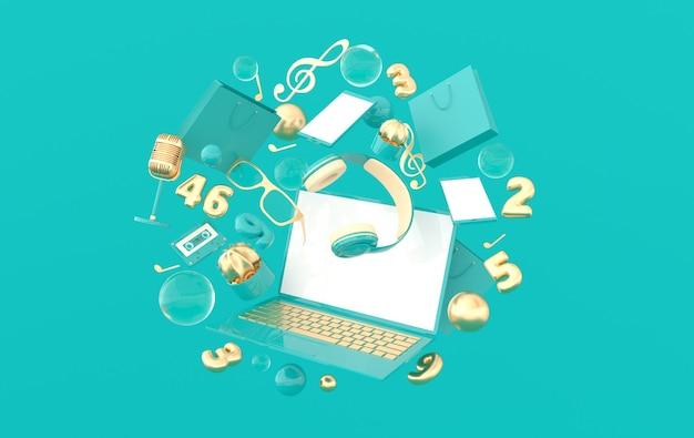 ノートパソコン、スマートフォン、買い物袋、メガネ、マイク、数字