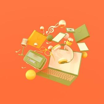 ノートパソコン、スマートフォン、買い物袋、メガネ、マイク、ラジオ、ヘッドフォン3dレンダリング