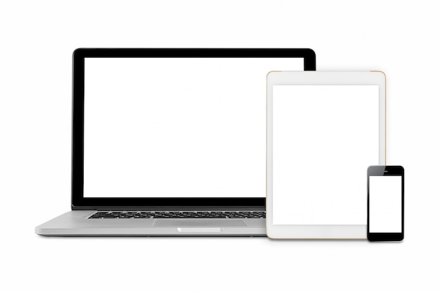 Laptop, tabled and smartphone with blank screen.