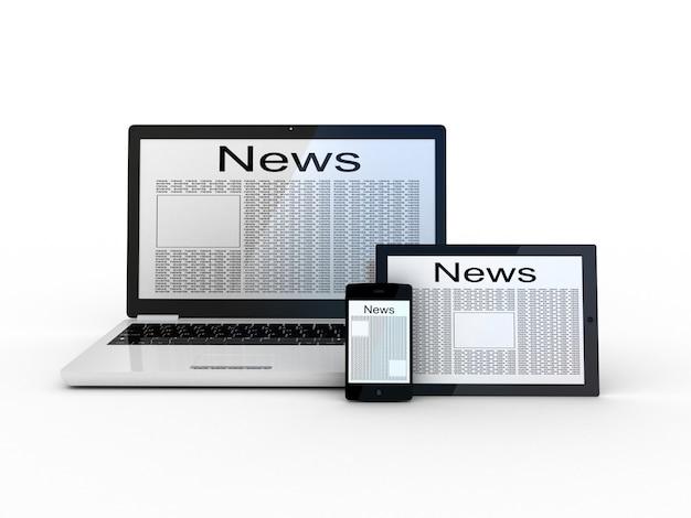 Ноутбук, планшет, смартфон и новостной сайт