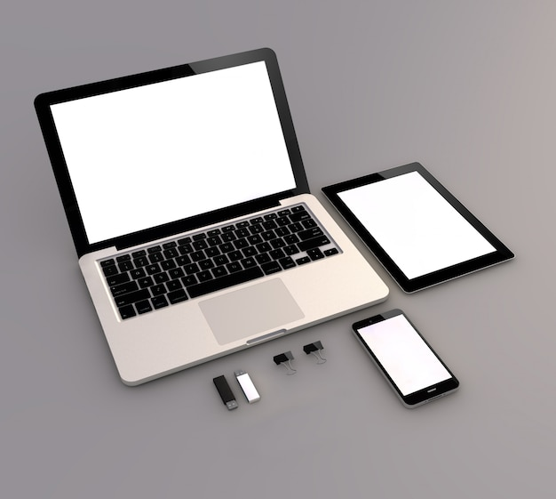 Laptop, tablet and smartphone