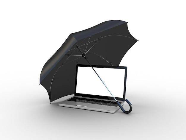 검은 우산 아래 노트북입니다. 3d 일러스트레이션