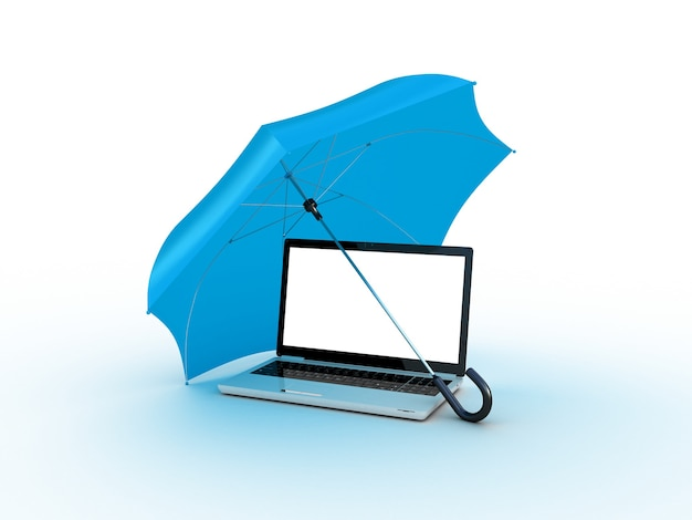 Ноутбук под синим зонтом. 3d иллюстрации