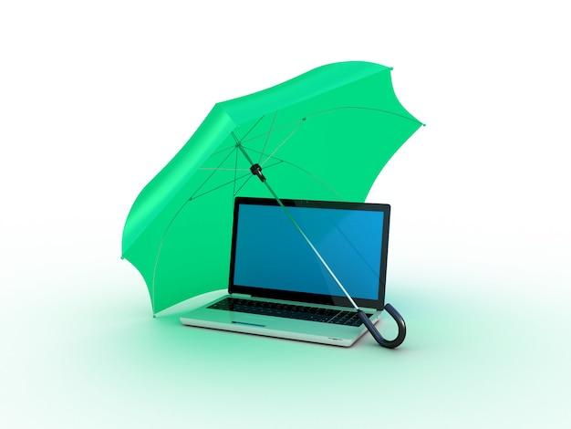녹색 우산 아래 노트북입니다. 3d 일러스트레이션