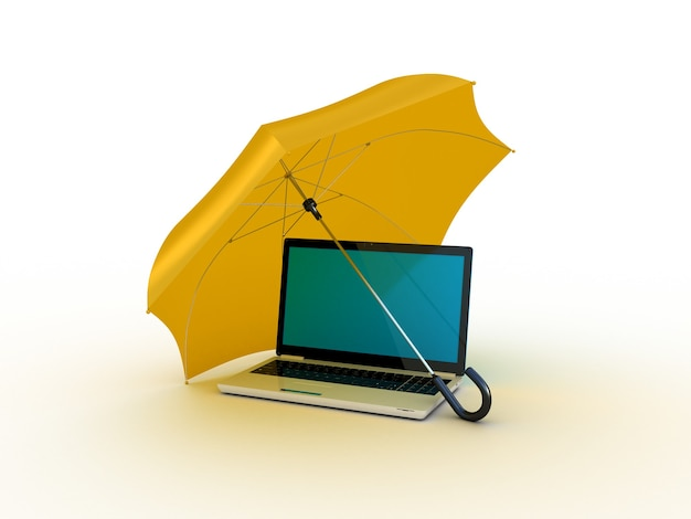 오렌지 우산 아래 노트북입니다. 3d 일러스트레이션
